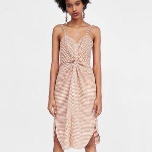 Zara Checkered Orange Dress w/ Front Knot Detail M